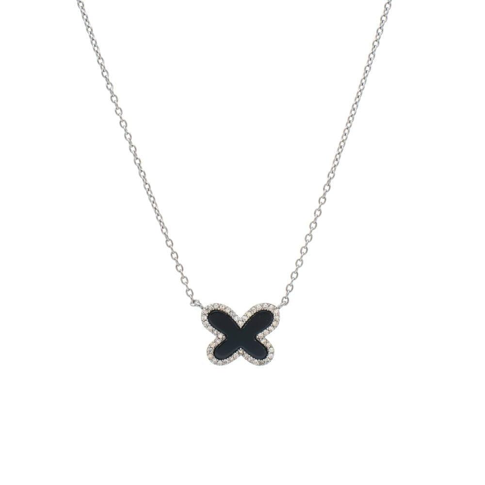 Diamond Mini Onyx Butterfly Necklace Sterling Silver