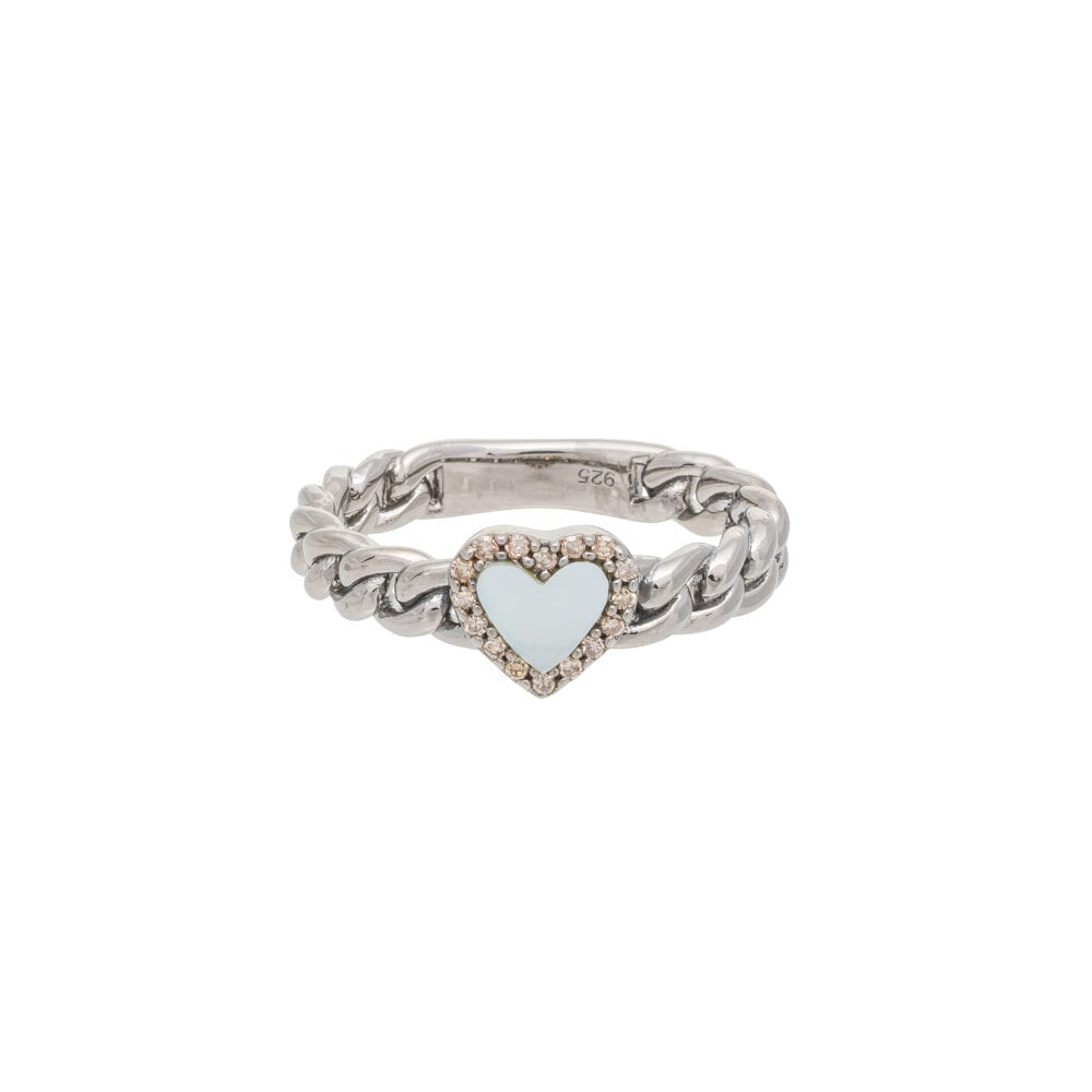 Diamond + Mother-of-Pearl Heart Curb Chain Hard Link Ring Sterling Silver