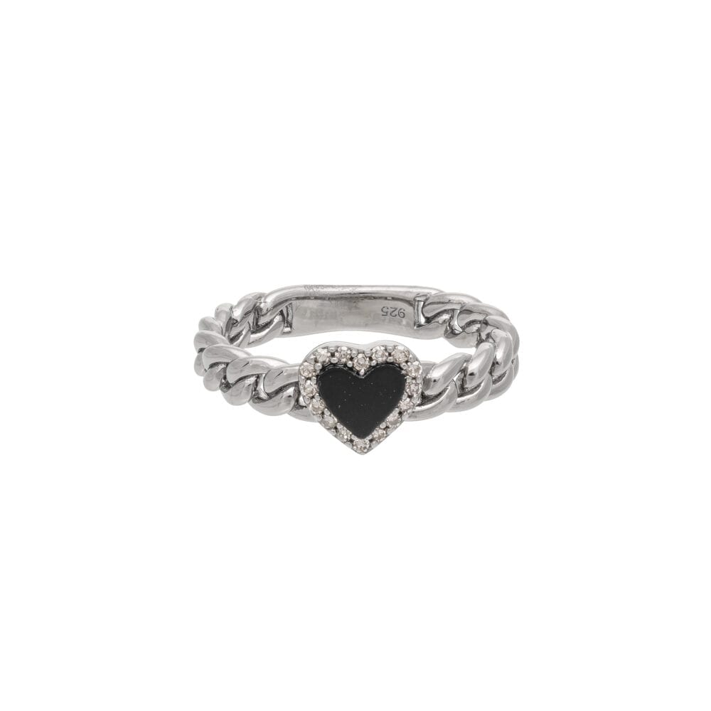 Diamond + Onyx Heart Curb Chain Hard Link Ring Sterling Silver