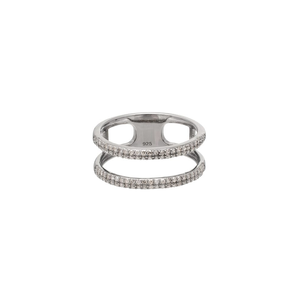 Diamond Open Double Band Statement Ring Sterling Silver