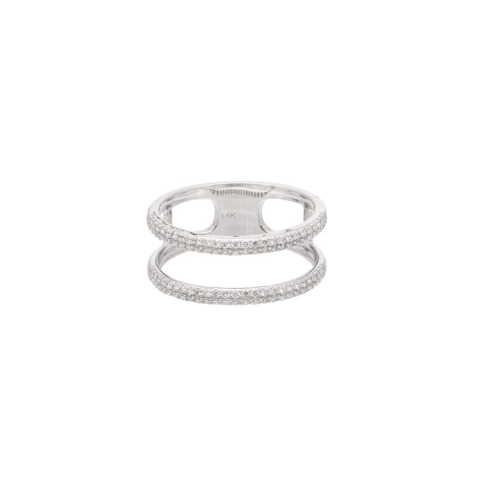Diamond Open Double Band Statement Ring White Gold