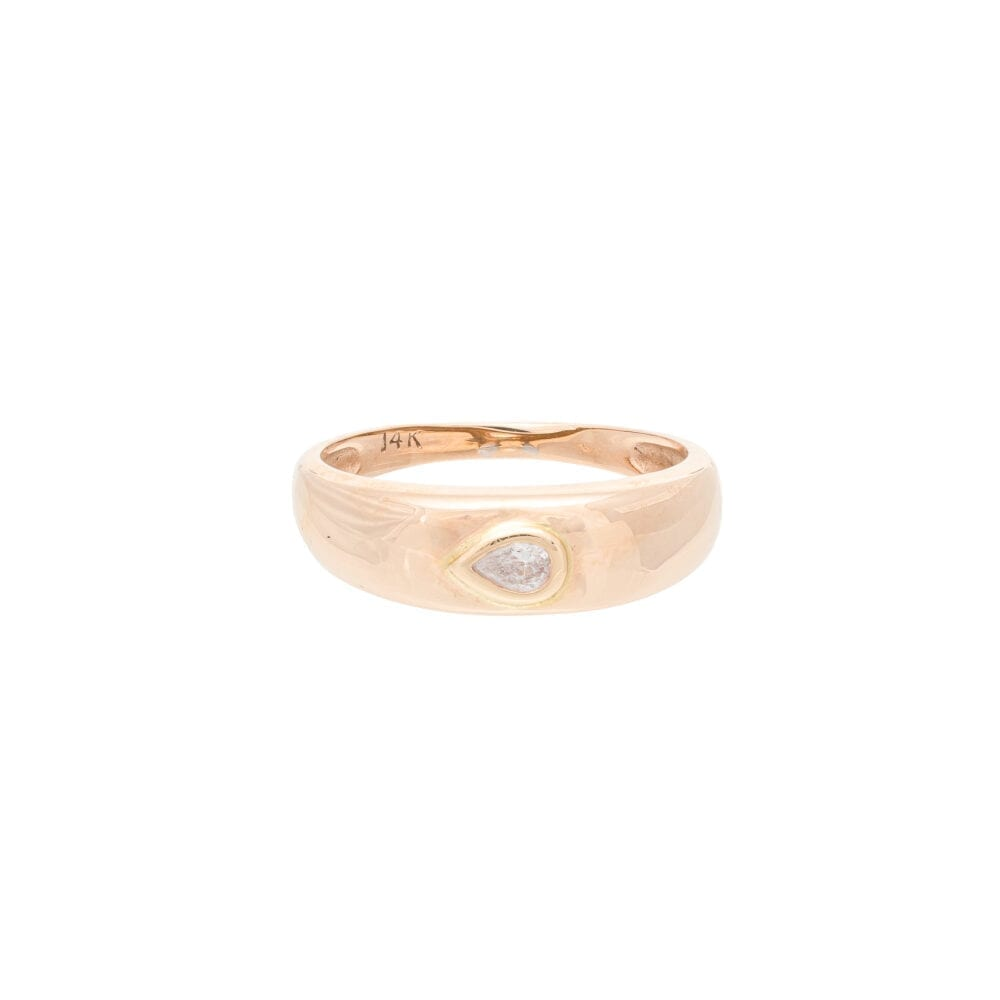 Diamond Pear-Shaped Dome Ring Yellow Gold