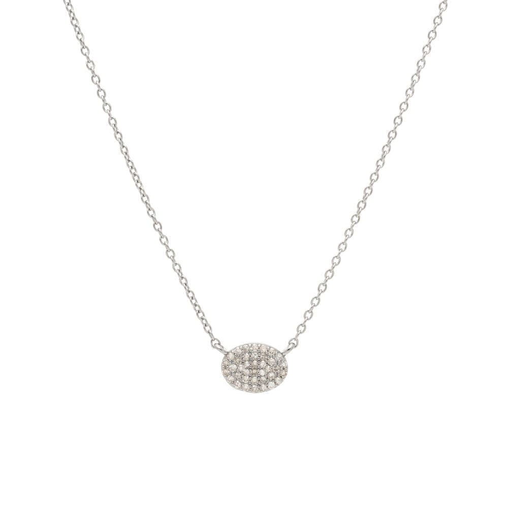 Diamond Small Oval Necklace Sterling Silver