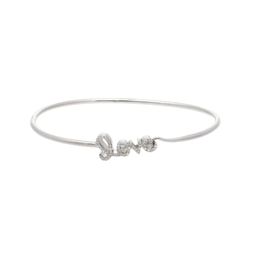 Diamond Small Script Love Wire Bangle Sterling Silver