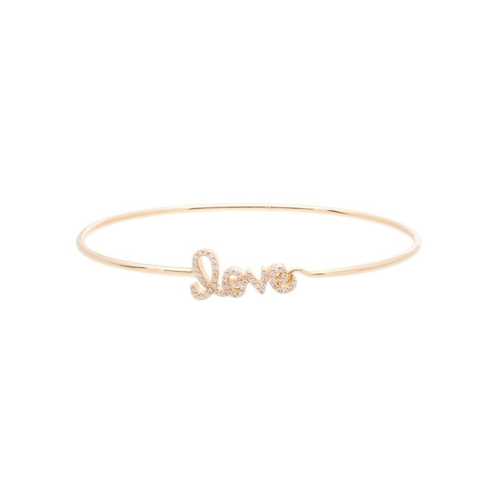 Diamond Small Script Love Wire Bangle Yellow Gold