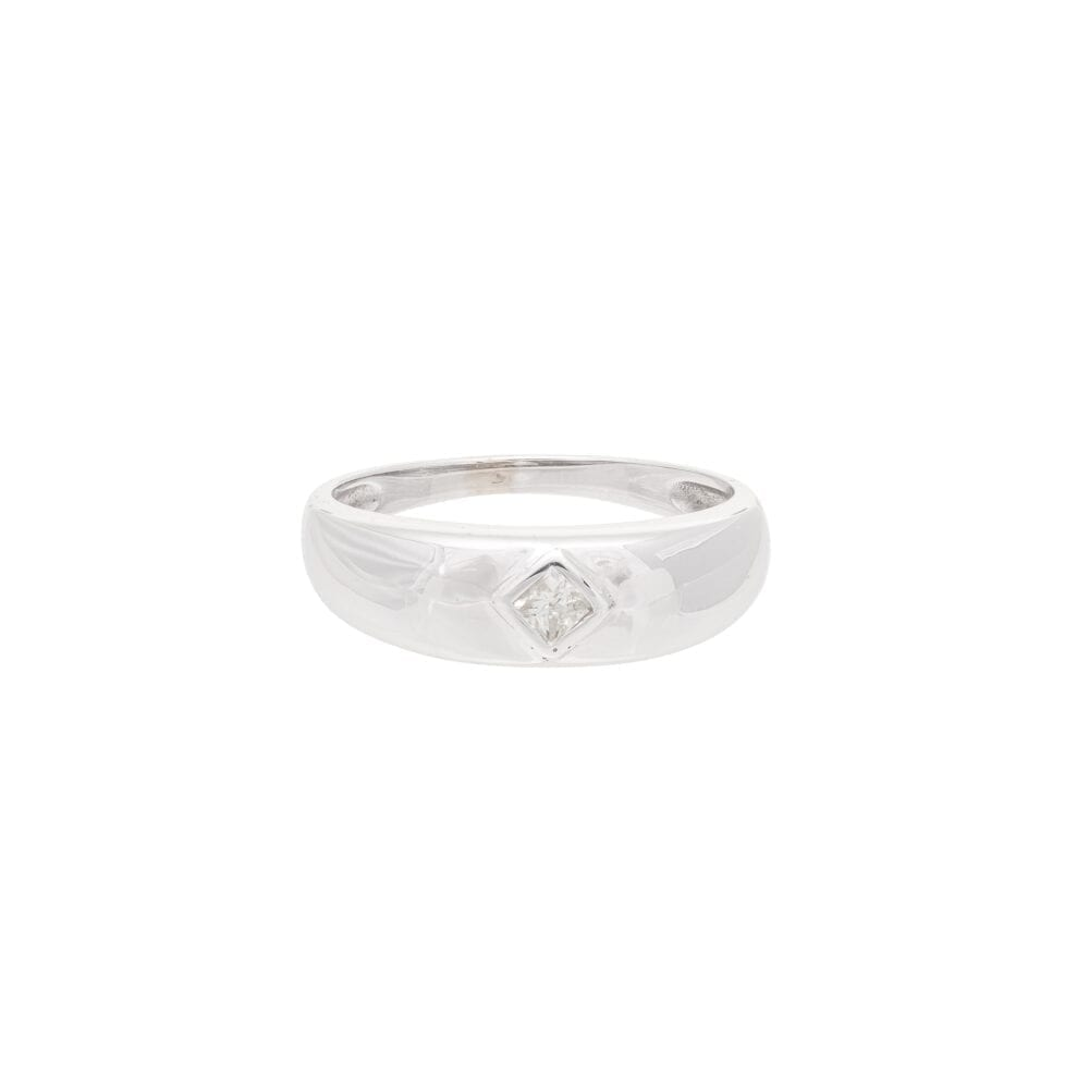 Diamond Square-Shaped Dome Ring White Gold