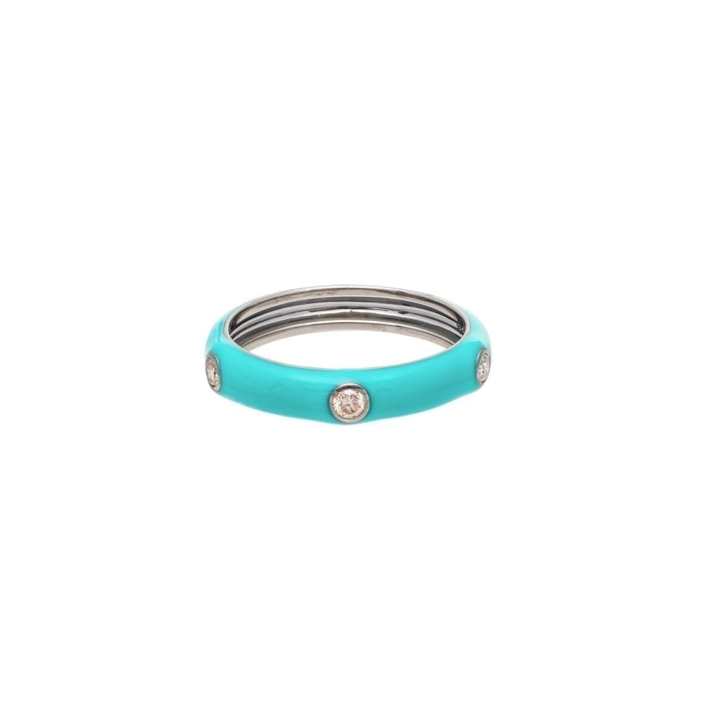 Diamond Turquoise Enamel Band Sterling Silver