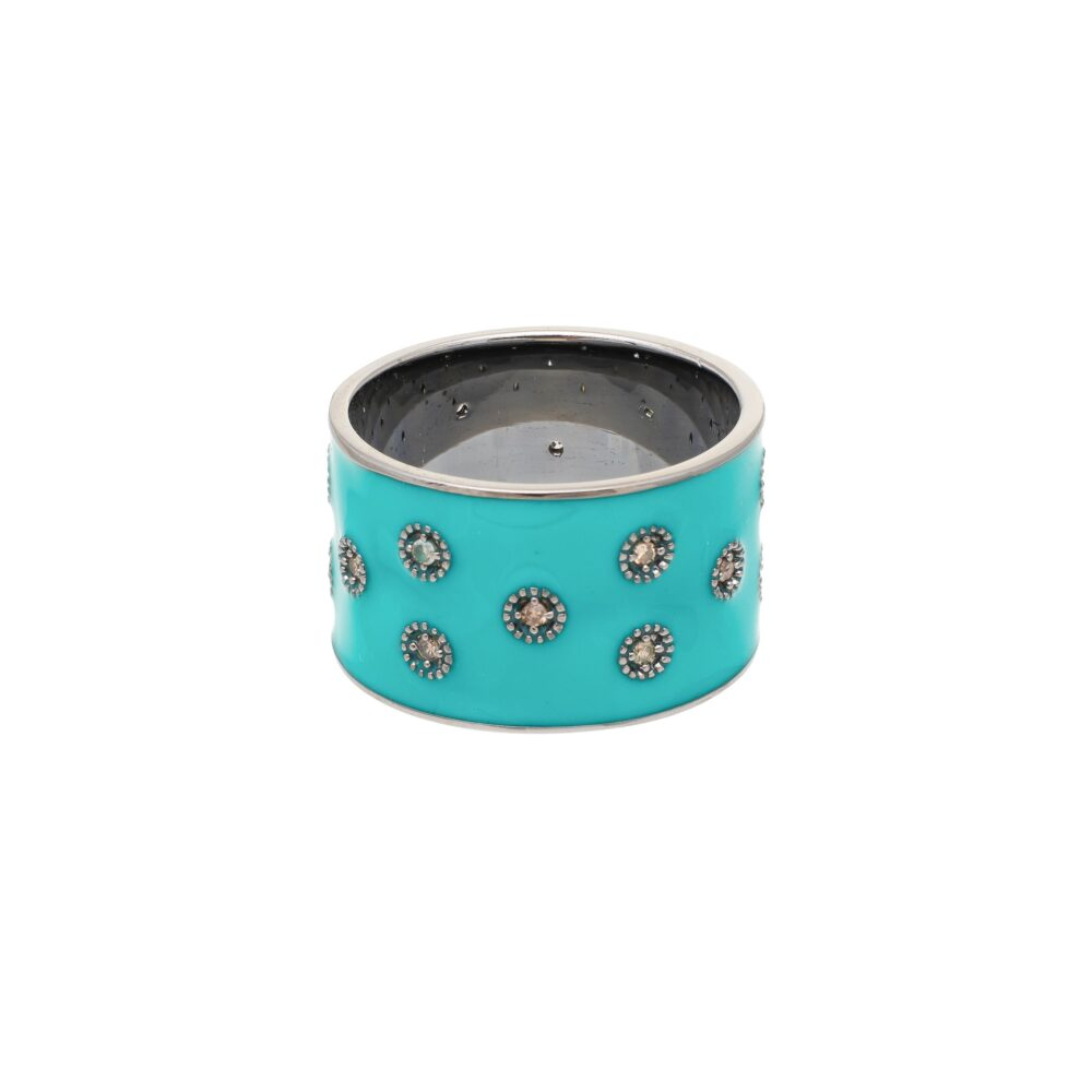 Diamond Turquoise Enamel Eternity Band Sterling Silver