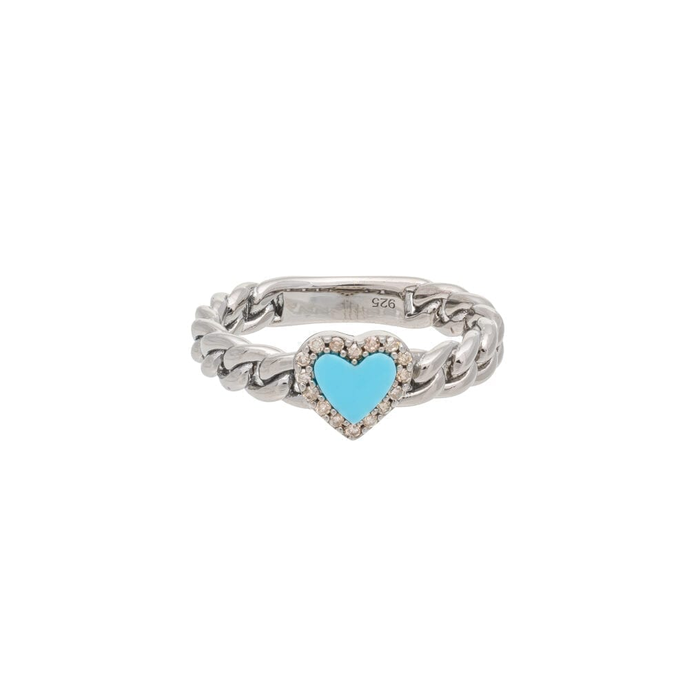 Diamond + Turquoise Heart Curb Chain Hard Link Ring Sterling Silver