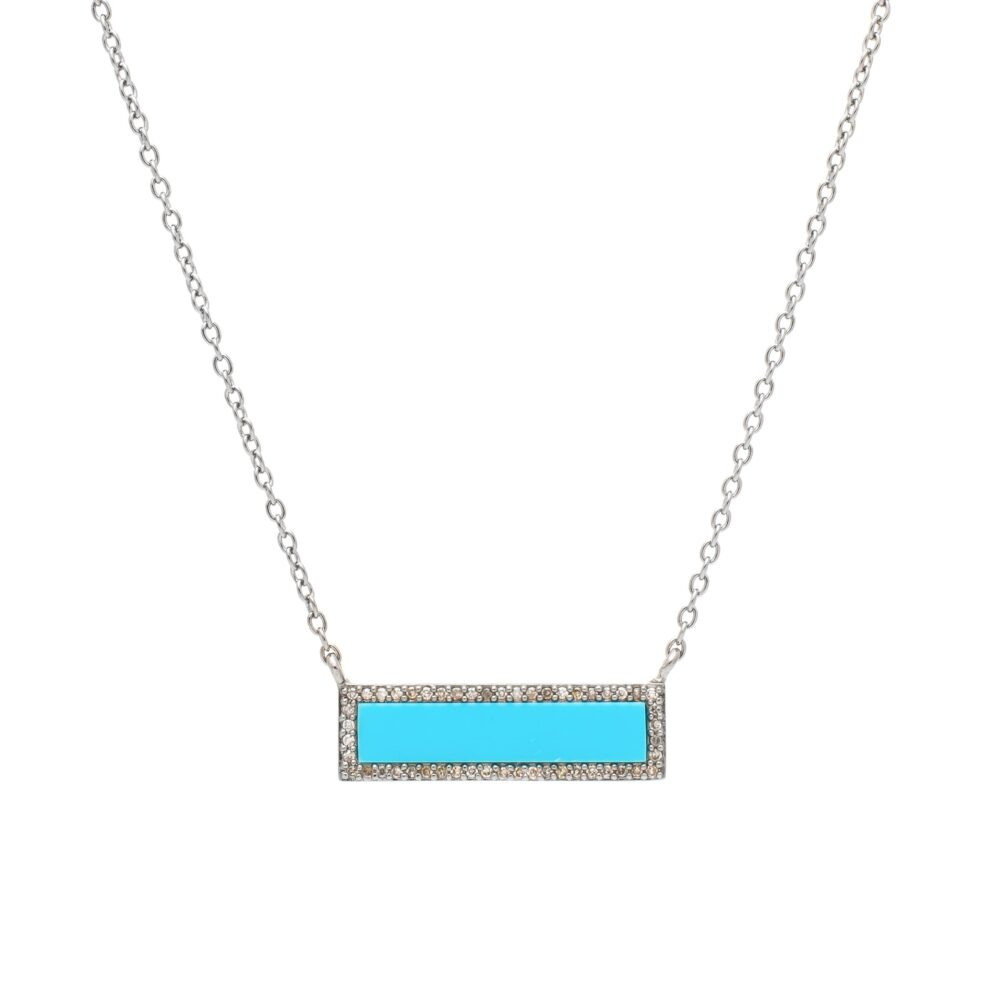 Diamond Turquoise ID Necklace Silver