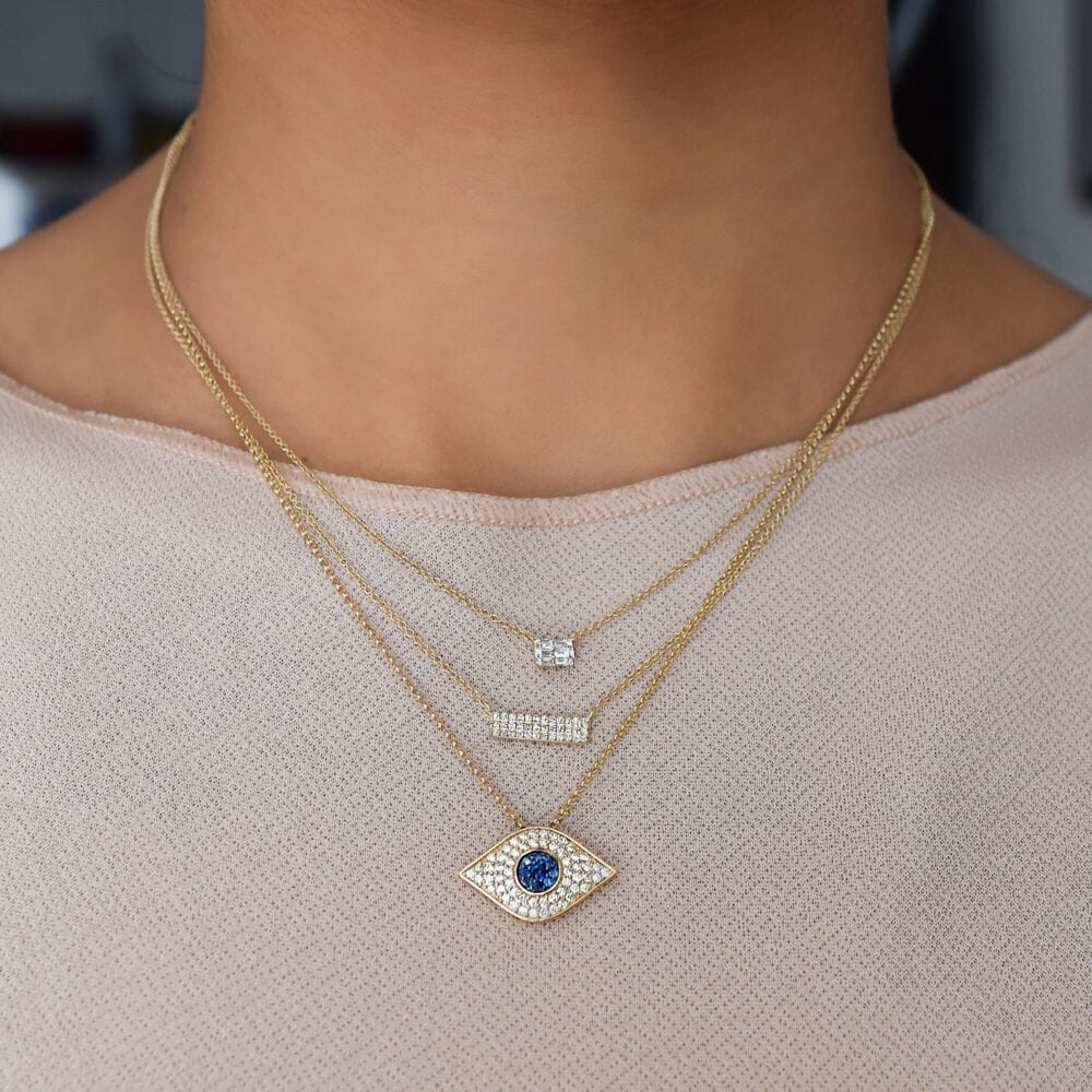 Gold Diamond Bar Necklace