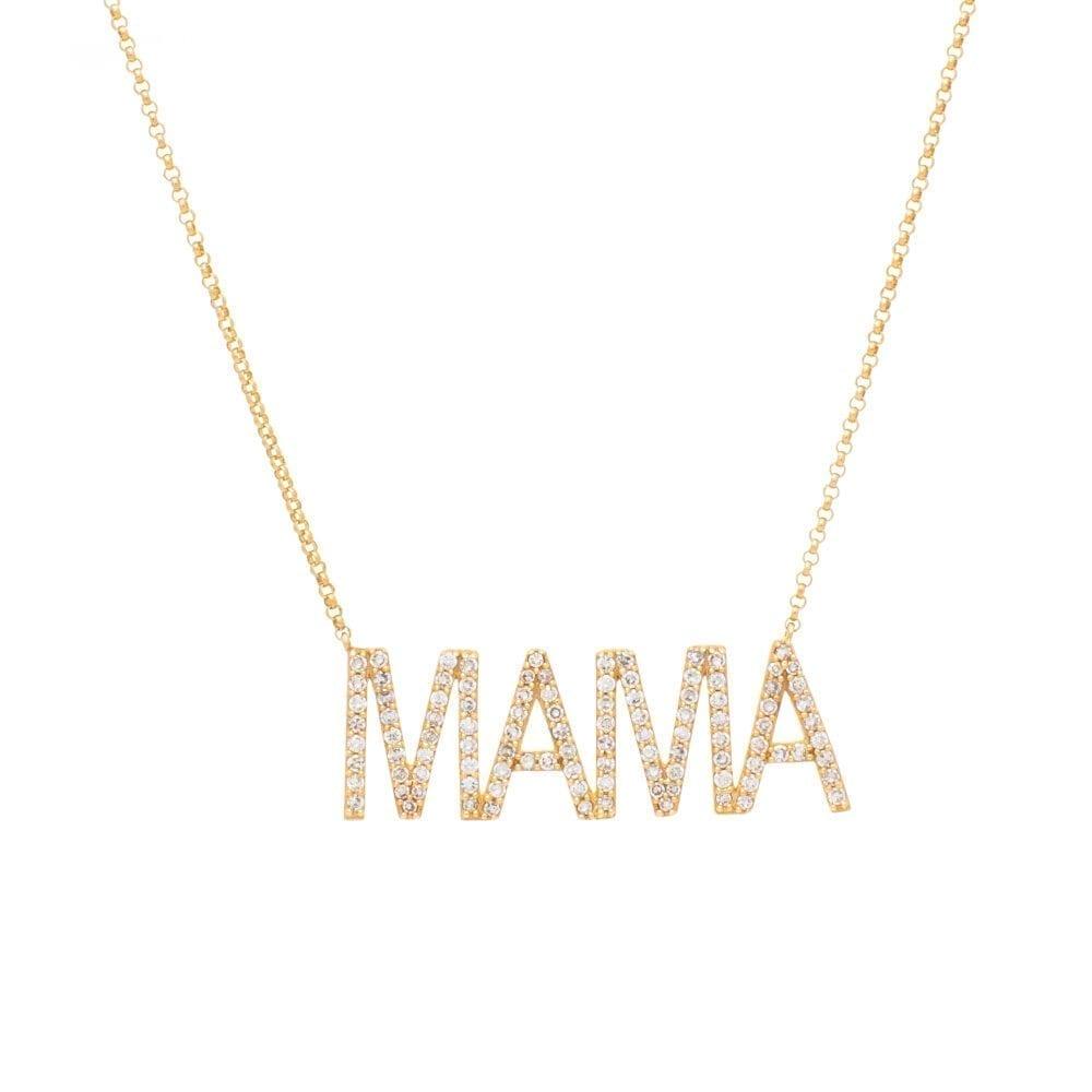 Large Diamond MAMA Necklace Yellow Gold