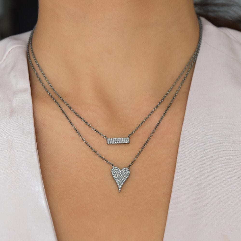Silver Diamond Bar Necklace