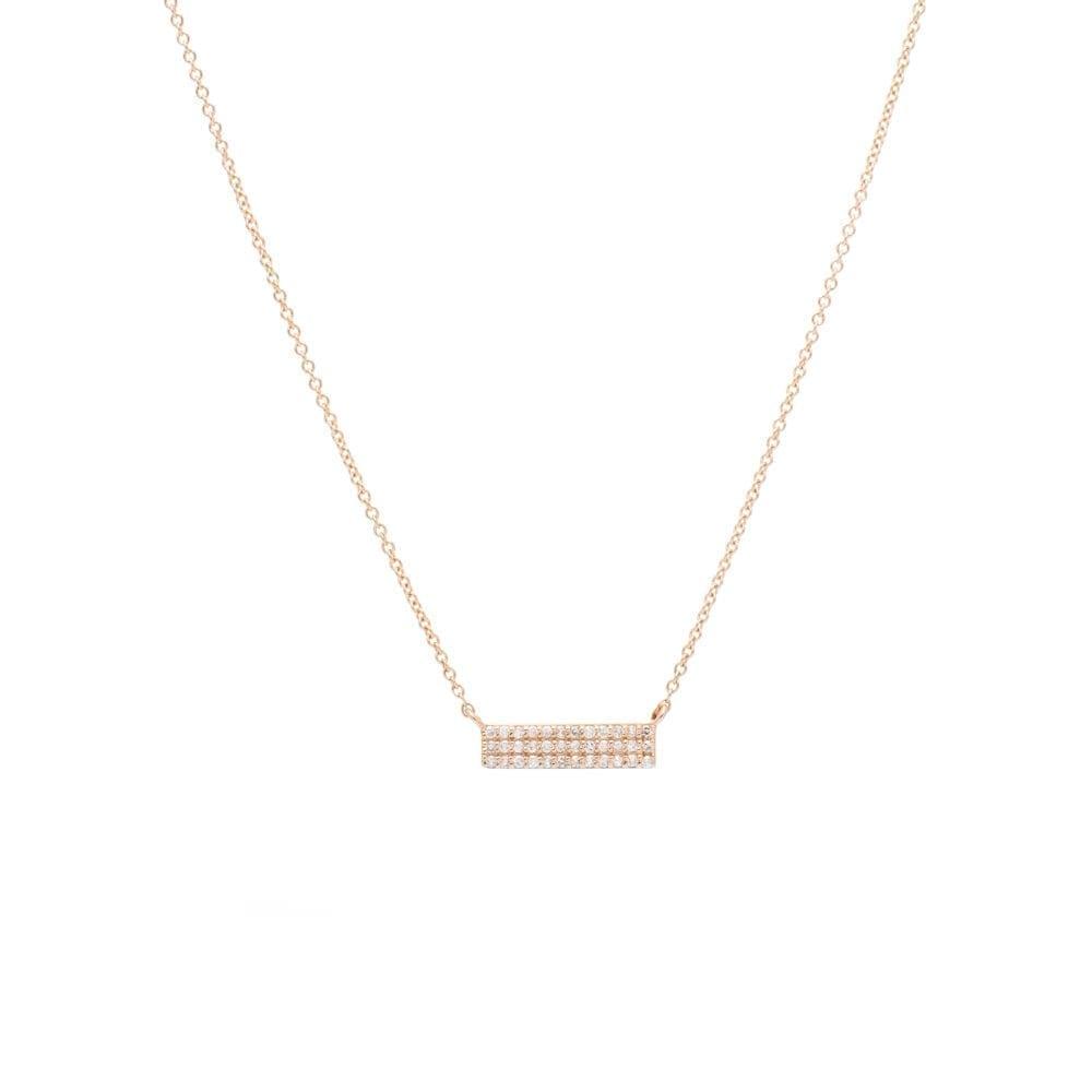 Small 3 Row Diamond Bar Necklace Rose Gold