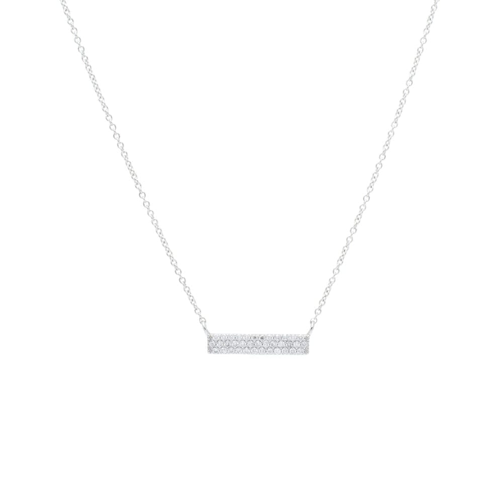 Small 3 Row Diamond Bar Necklace White Gold