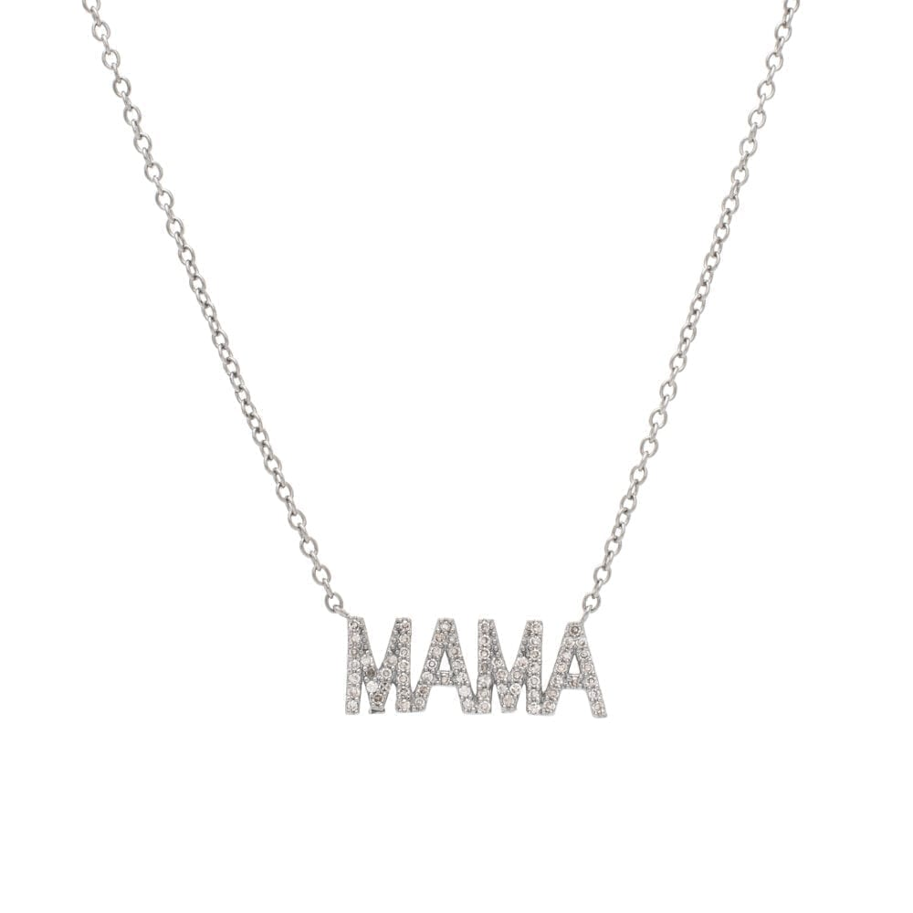 Small Diamond MAMA Necklace Sterling Silver