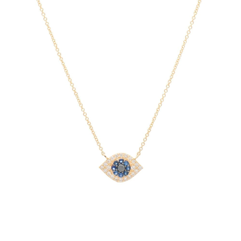 Small Diamond + Sapphire Evil Eye Necklace Yellow Gold