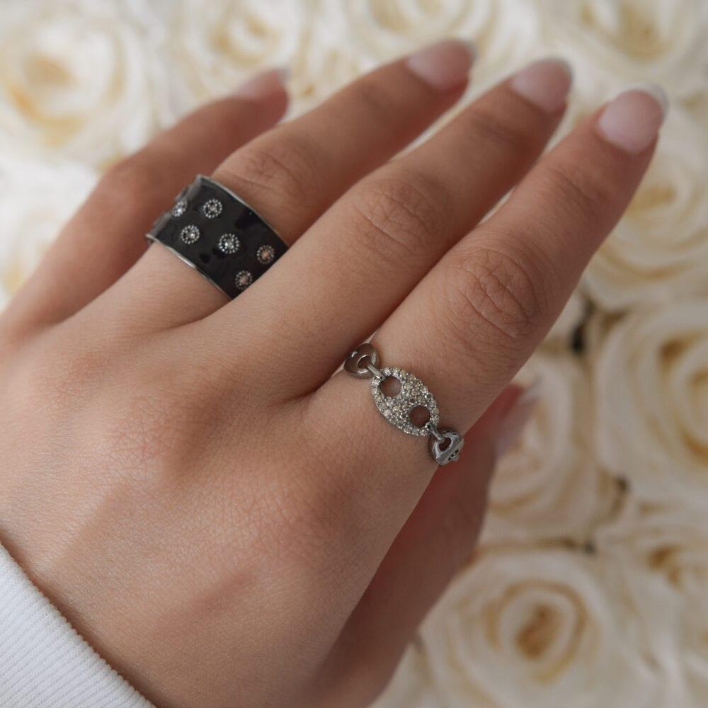 Tri-Link Diamond Hard Link Ring