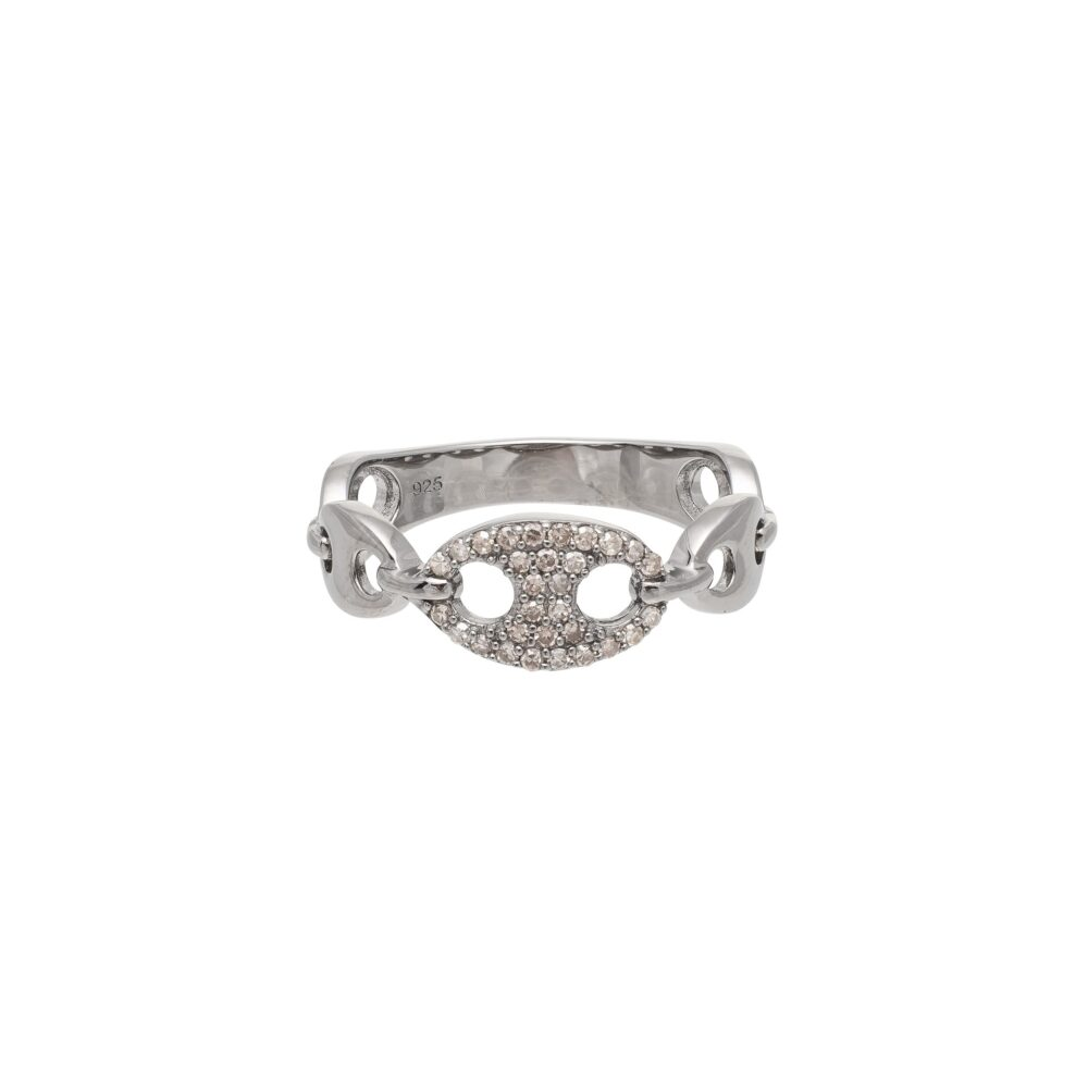 Tri-Link Diamond + Hard Link Ring Sterling Silver