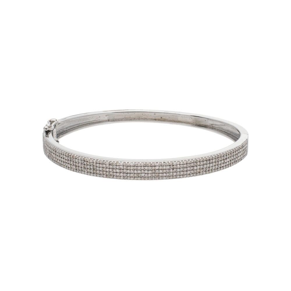 Wide Pave Diamond Bangle Sterling Silver