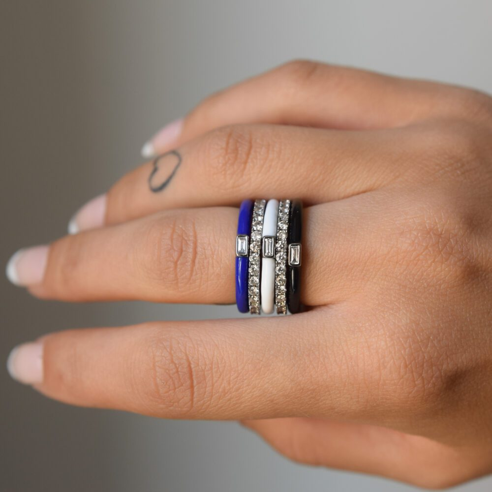 Baguette Diamond + Black Enamel Stacking Ring