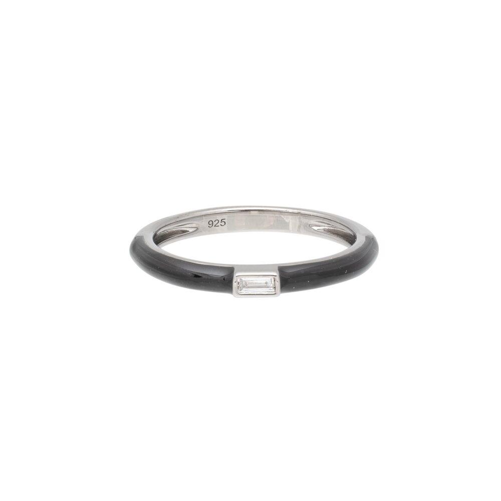 Baguette Diamond Black Enamel Stacking Ring Silver