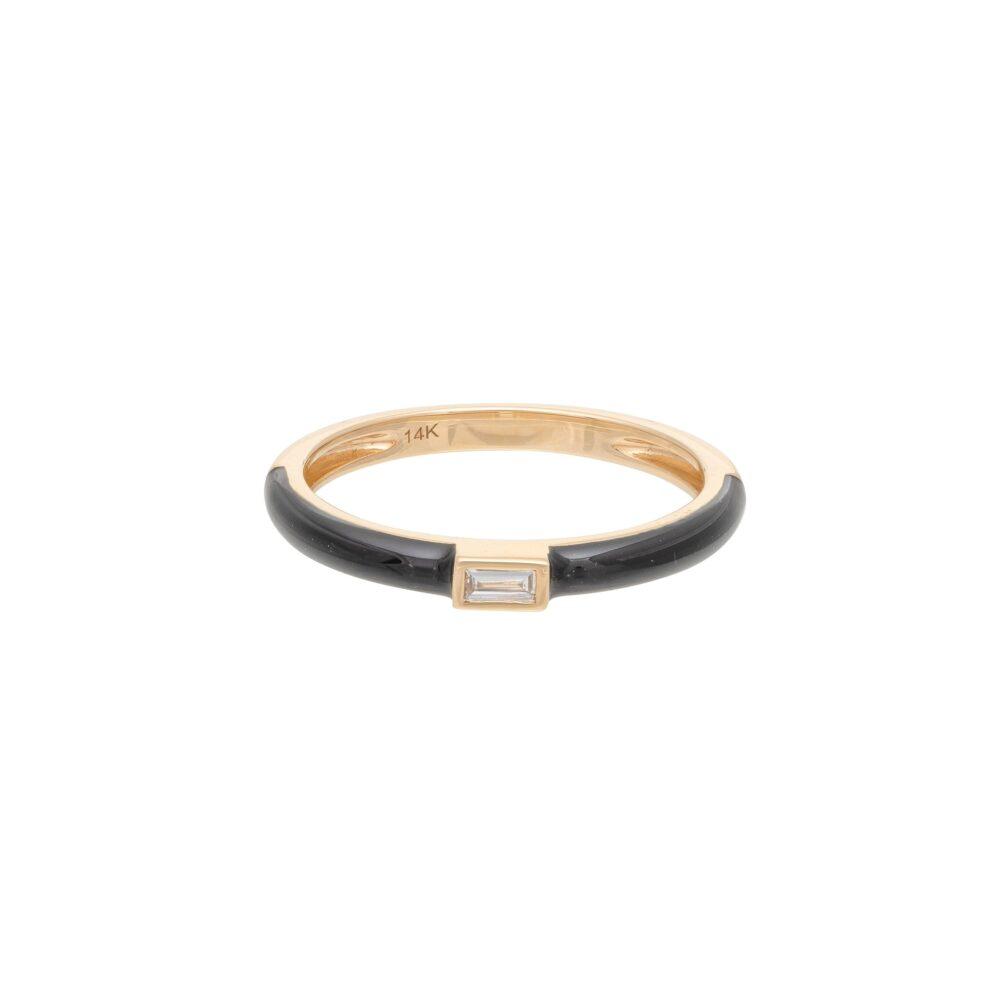 Baguette Diamond + Black Enamel Stacking Ring Yellow Gold