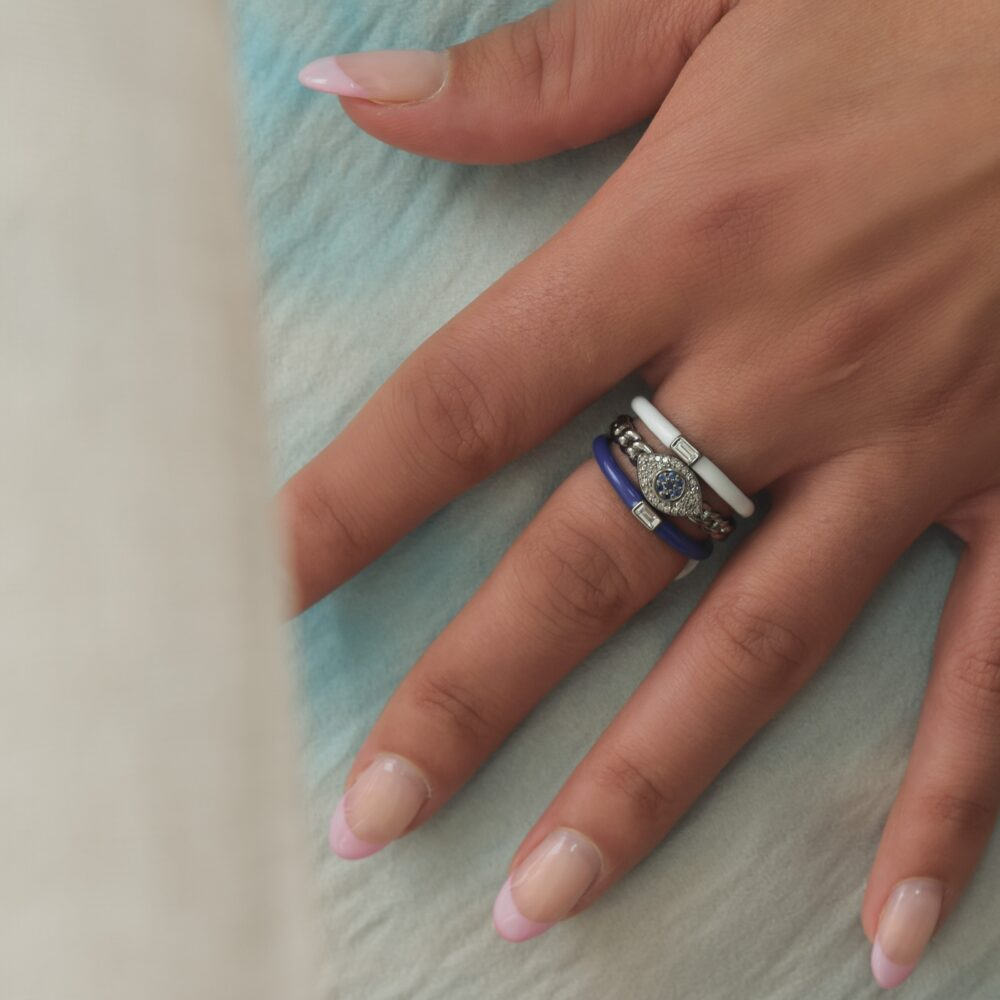 Baguette Diamond Blue Enamel Stacking Ring