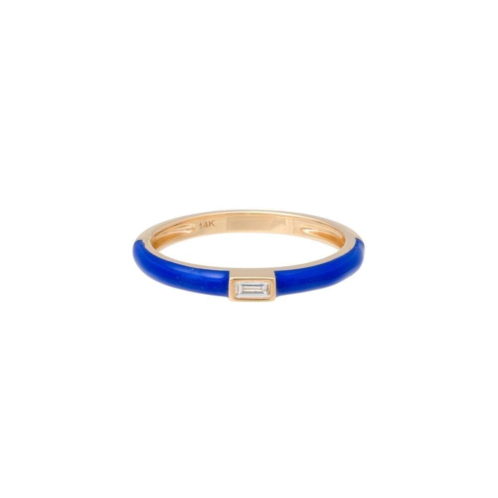 Baguette Diamond + Lapis Blue Enamel Stacking Ring Yellow Gold