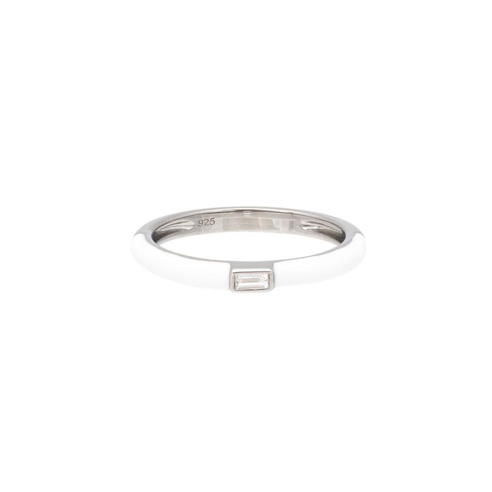 Baguette Diamond White Enamel Stacking Ring Silver