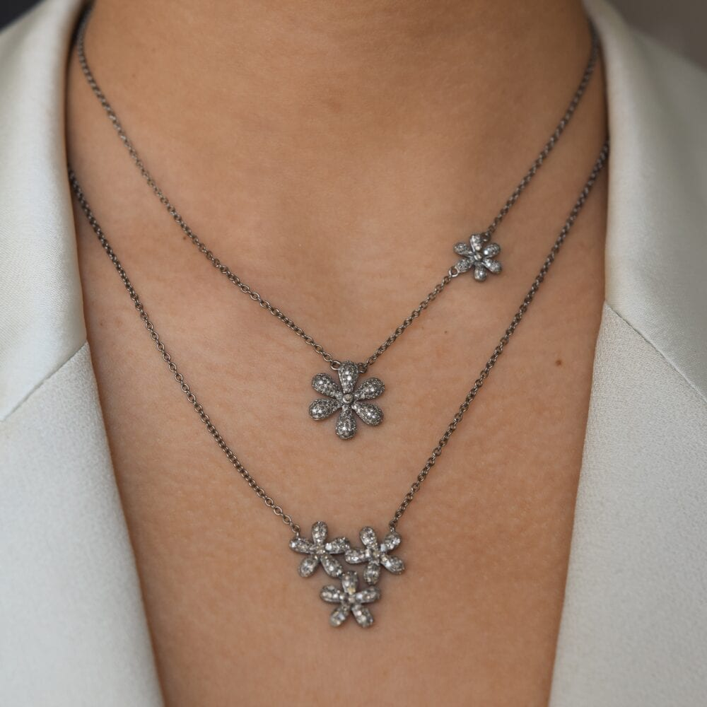 Diamond Flowers Necklace