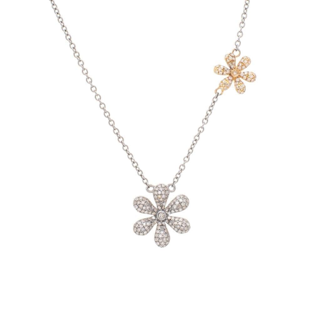 Diamond Flowers Necklace Yellow Gold