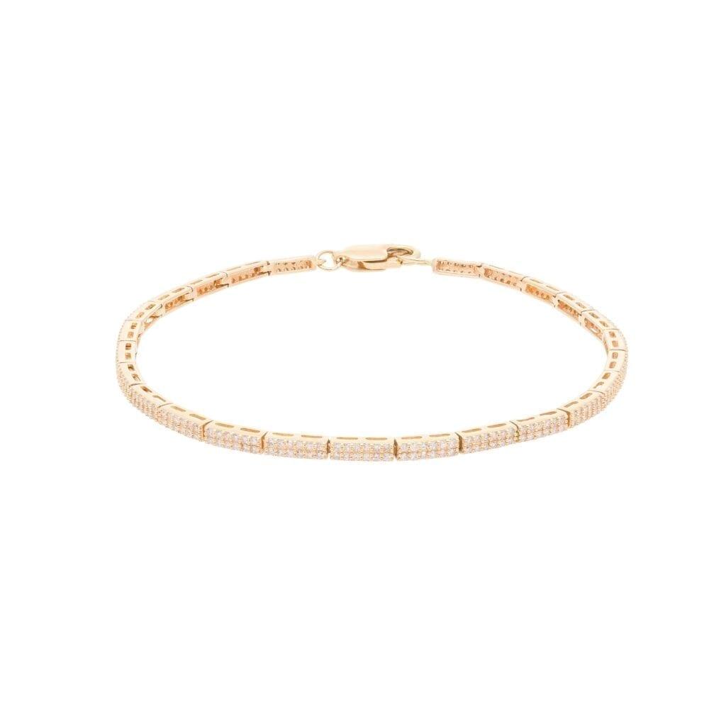 Diamond Link Tennis Bracelet Yellow Gold
