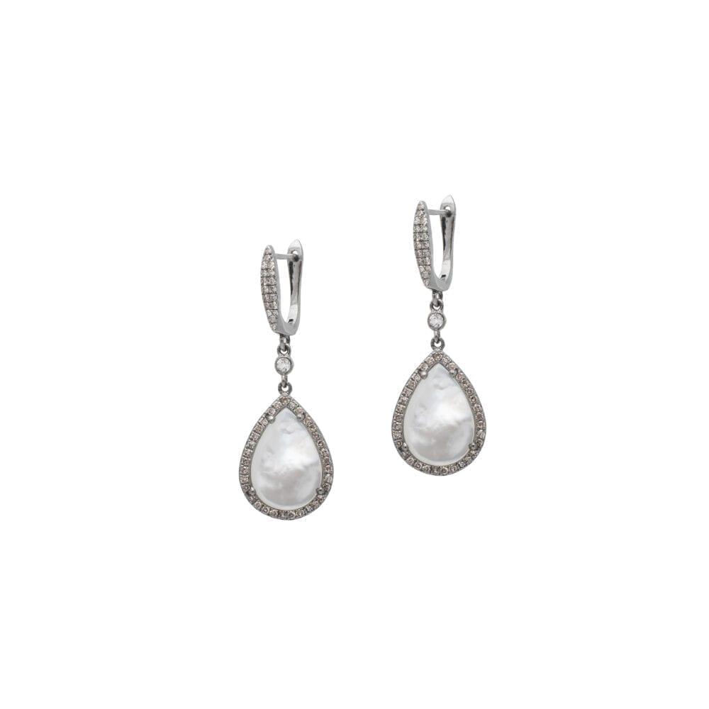Diamond Mother-of-Pearl Tear Drop Earrings Sterling Silver