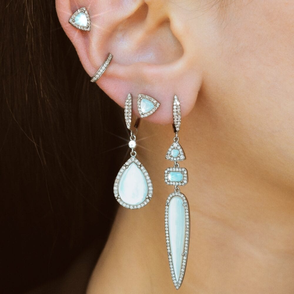 Diamond Mother-of-Pearl Teardrop Earrings
