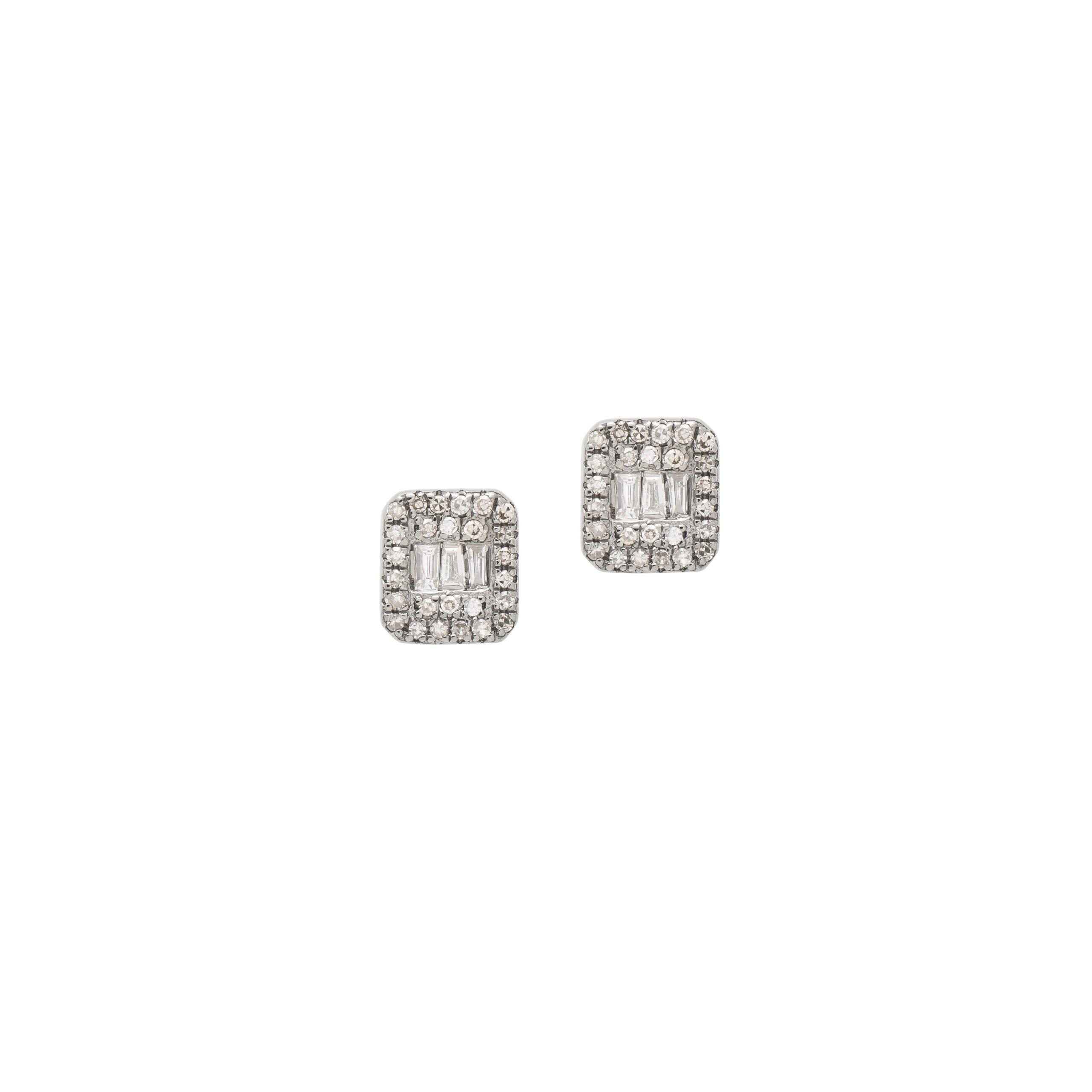 Diamond Rectangle Pave + Baguette Earrings Sterling Silver