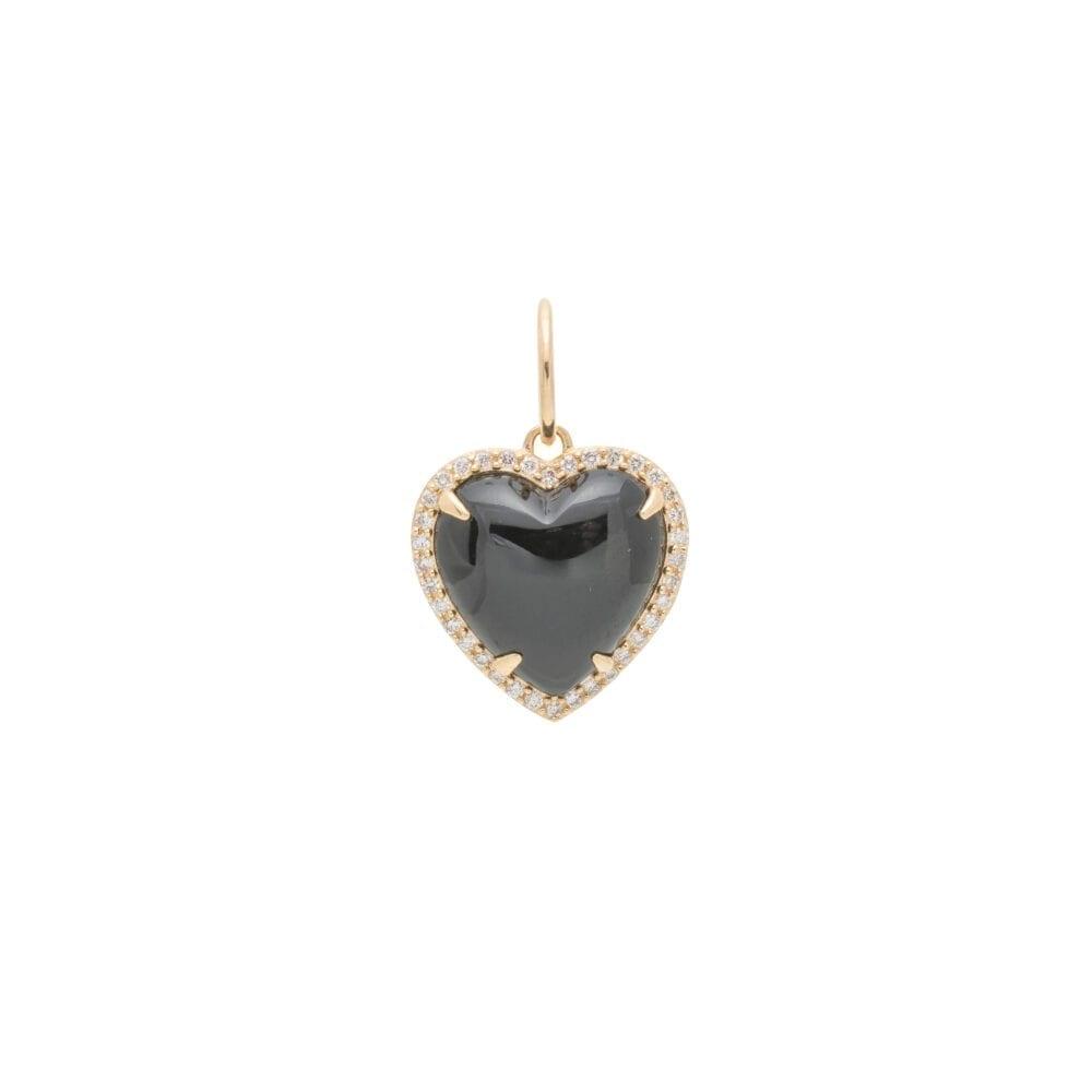 Diamond Small Puffed Black Onyx Heart Charm Yellow Gold
