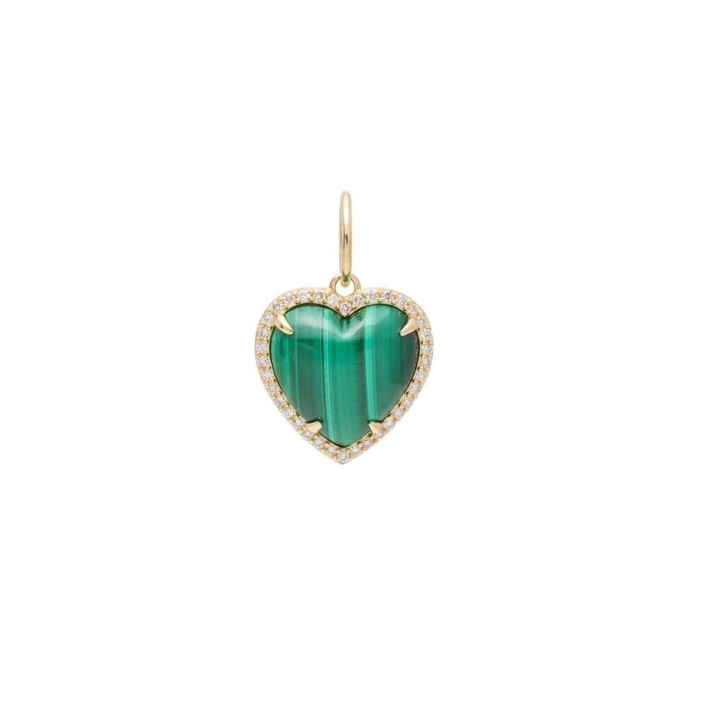 Diamond Small Puffed Malachite Heart Charm Yellow Gold