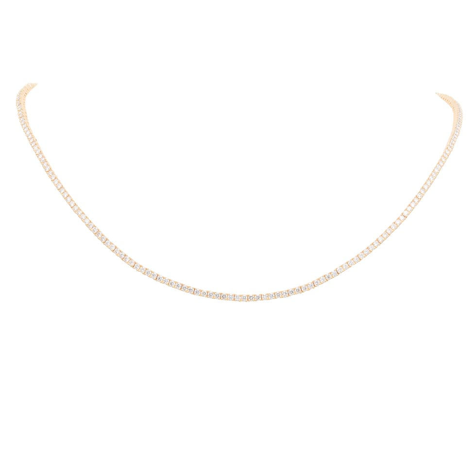 Diamond Tennis Necklace Yellow Gold