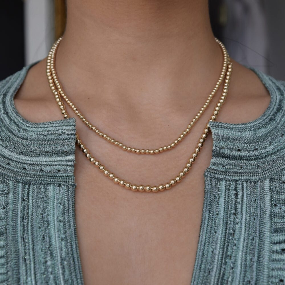 Gold Beaded Ball Necklace
