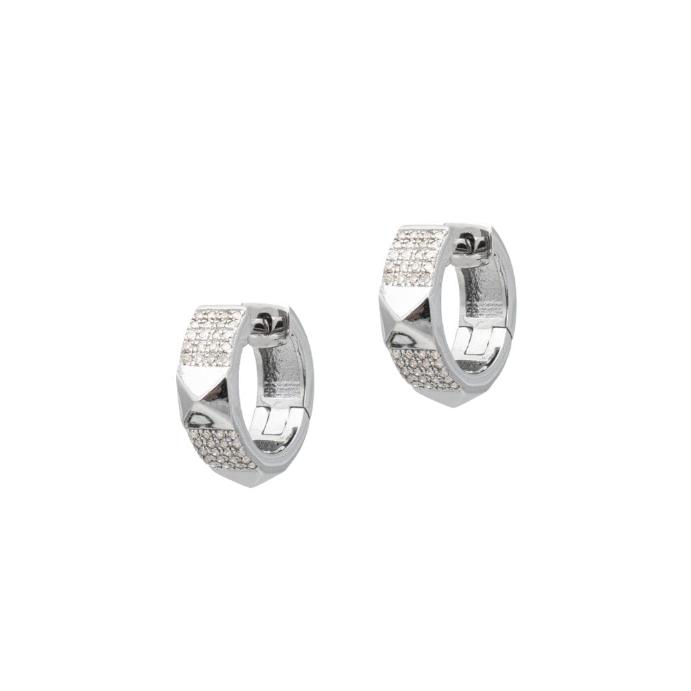 Rock Studded Huggies Sterling Silver