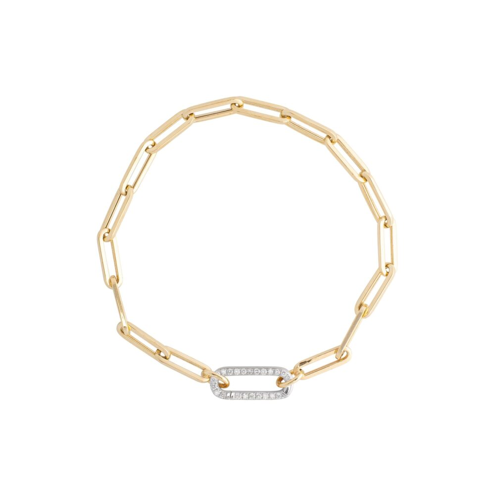 Small Chain Link Bracelet + Mini Pave Diamond Gold Link Connector Clasp White Gold