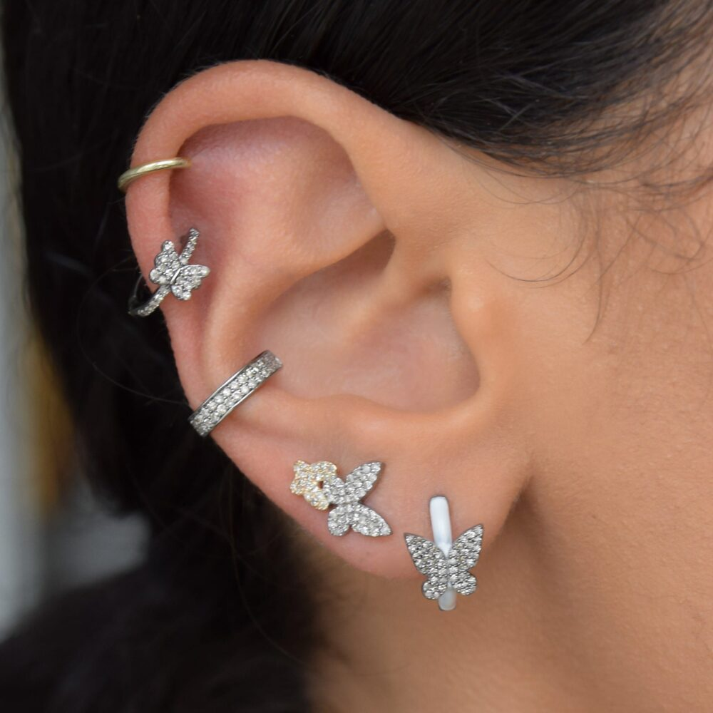 Diamond Butterfly White Enamel Huggie Earrings