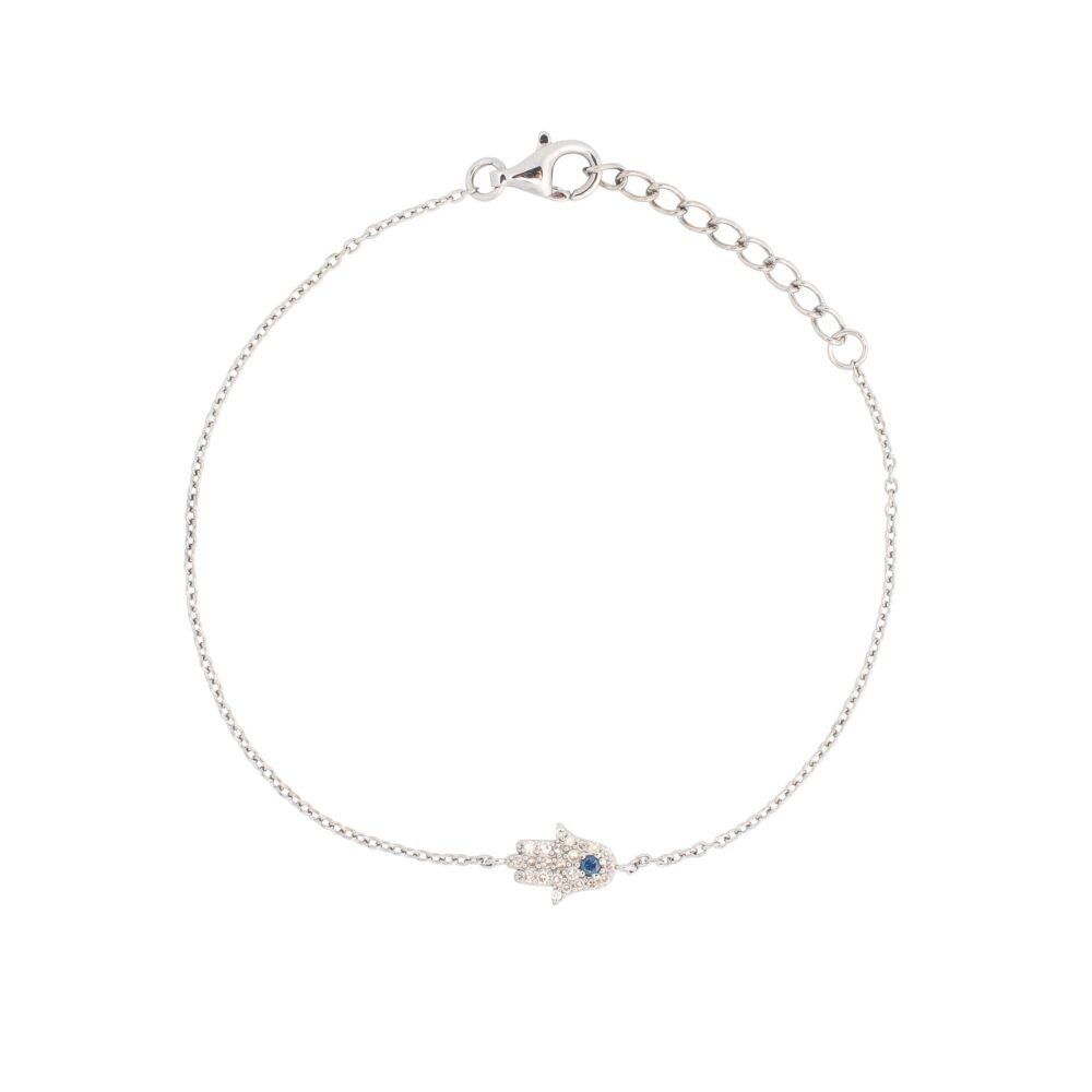 Diamond Hamsa Chain Bracelet Sterling Silver
