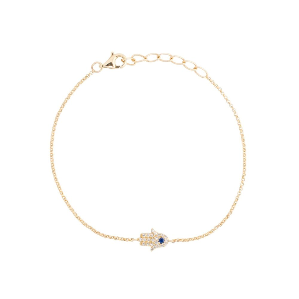 Diamond Hamsa Chain Bracelet Yellow Gold