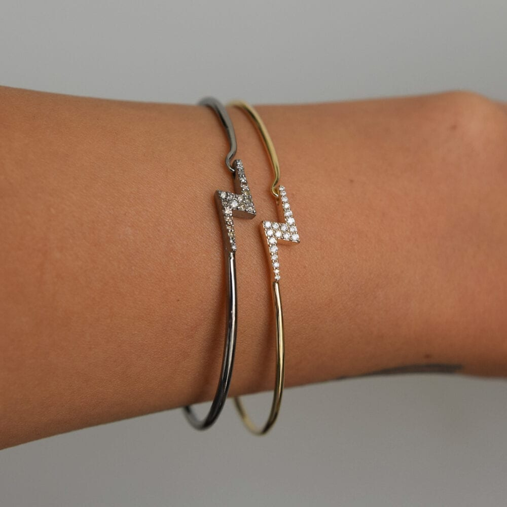 Diamond Lightning Bolt Wire Bracelet