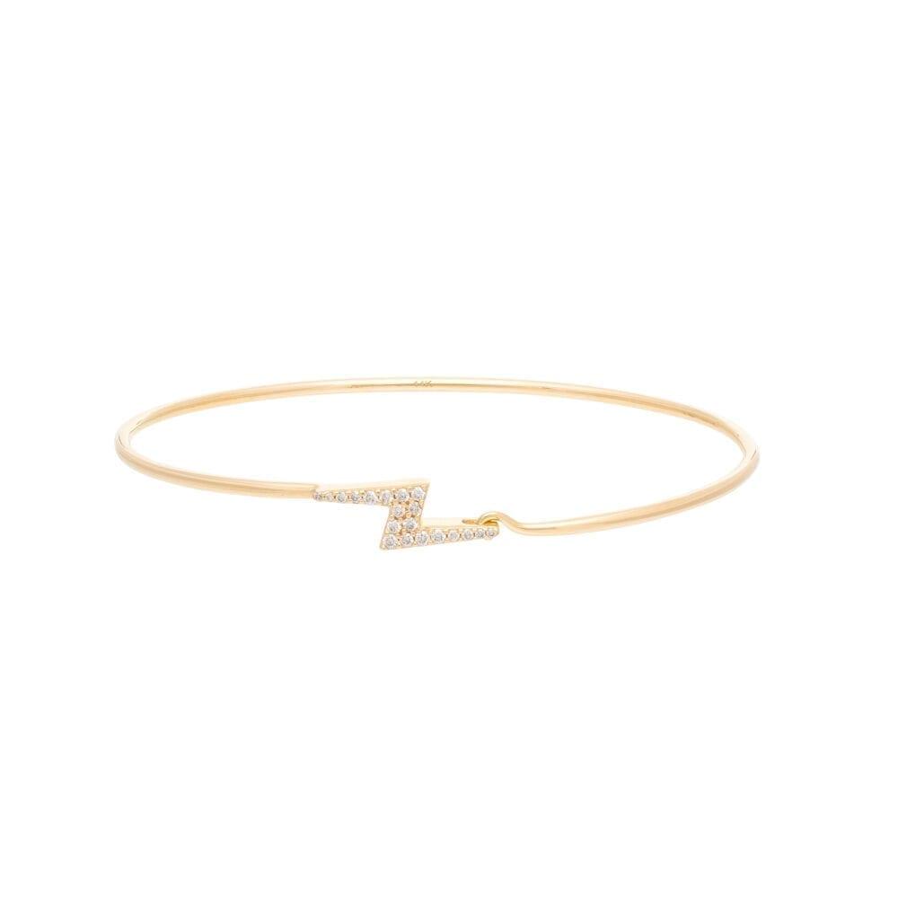 Diamond Lightning Bolt Wire Bracelet Yellow Gold