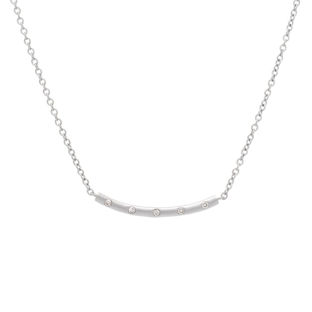 Diamond Matte Curved Bar Necklace Sterling Silver
