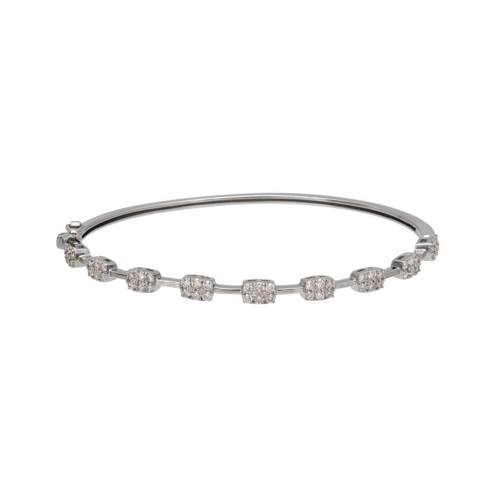 Diamond Rectangle Bar Bangle Sterling Silver