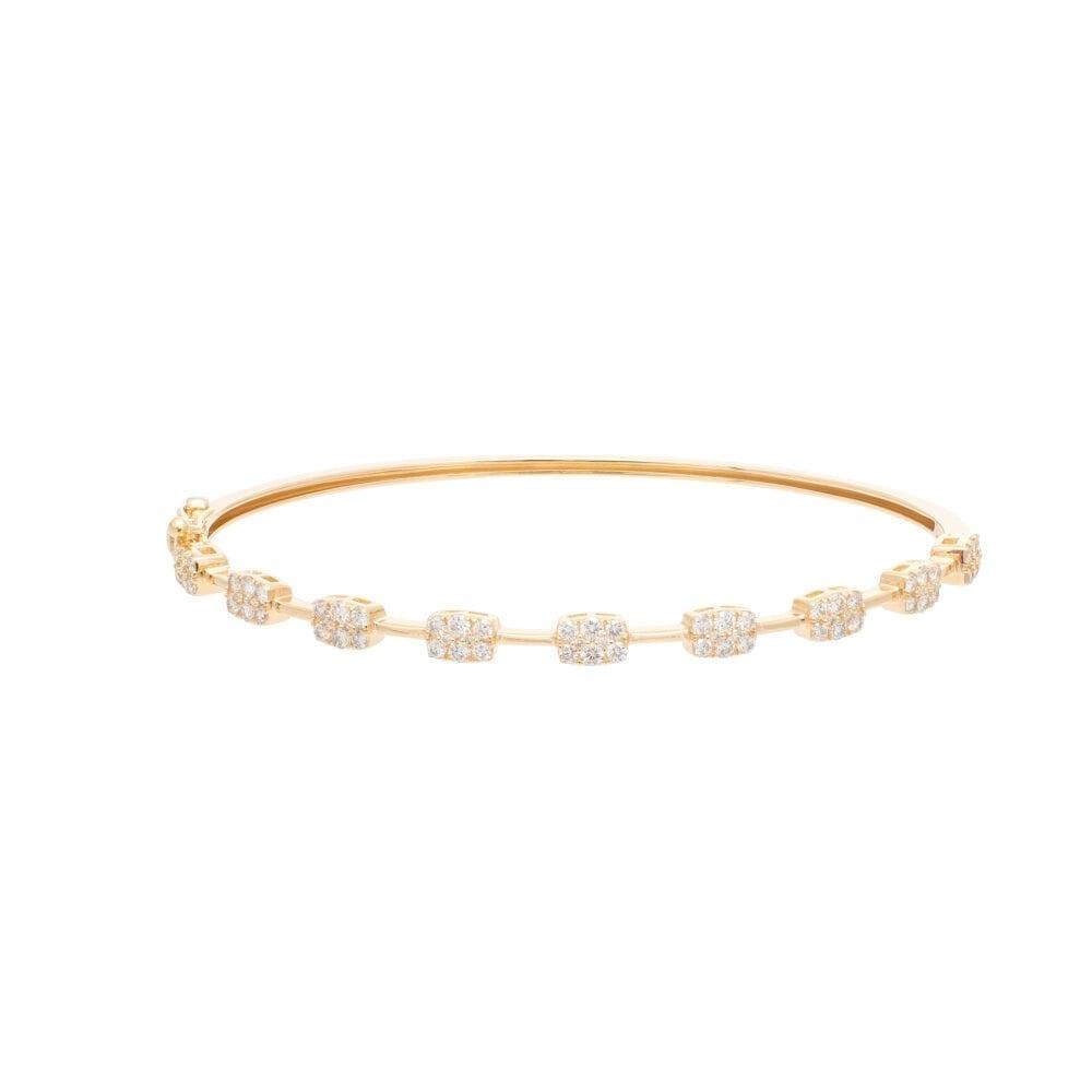 Diamond Rectangle + Bar Bangle Yellow Gold
